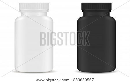 Plastic Pill Bottle Kit. Supplement Container.