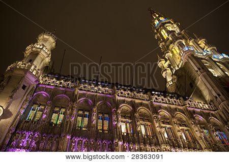 Grand Place at night with Christmas decoration, Brussels.