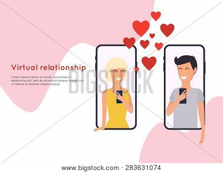 Concept Of Online Dating, Beautiful Young Woman And Man. People Chatting In The Smartphone Screen, V