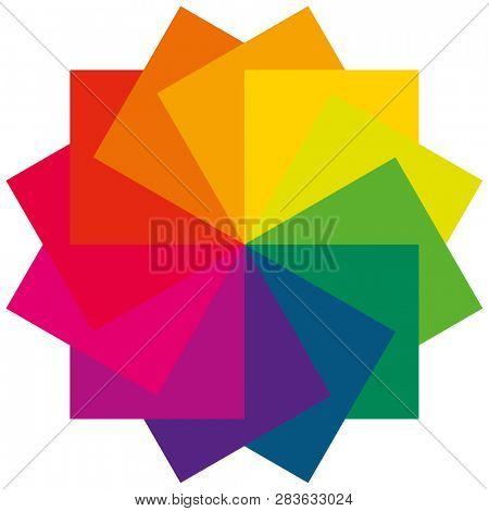 Color fan as a color wheel and flower with selected colors