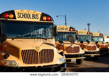 Cincinnati - Circa February 2019: Yellow School Buses In A District Lot Waiting To Depart For Studen