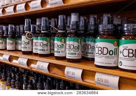 Indianapolis - Circa February 2019: Various Cbd Oil Products. The Popularity Of Cbd Oil As A Medicin