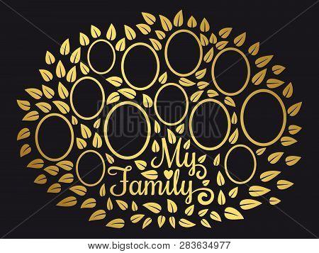 Golden Vintage Genealogy Tree. Genealogical Family Tree Vector Illustration On Black Background. Gen