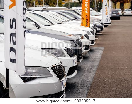 Strasbourg, France - Nov 7 2017: Perspective View - Rows Of New Cars For Sale Large Stock In Wide Pa