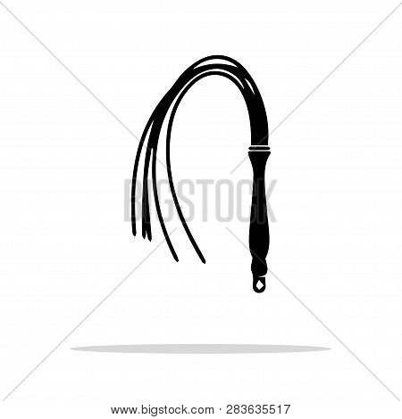 Black Whip Sex Toy. Leather Lash Bdsm Icon, Vector Isolated