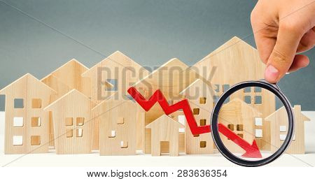 The Concept Of Falling Real Estate Market. Reduced Interest In The Mortgage. A Decline In Property P