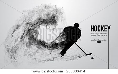 Abstract Silhouette Of A Hockey Player On White Background From Particles, Dust, Smoke, Steam. Hocke