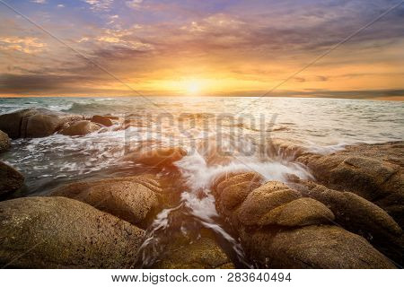 The Storm On The Rock Beach With Dramatic Sky , Long Exposure Of Sunset At The Sea,larn Hin Khao , R