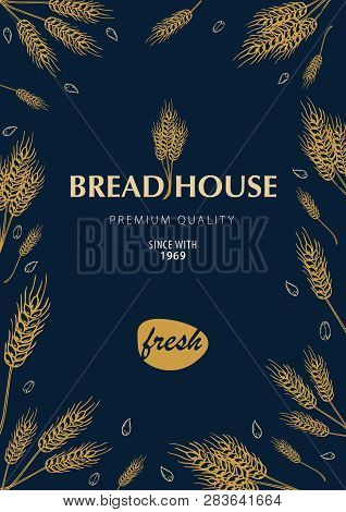 Bakery Background With Wheats. Linear Graphic. Bread Banner Collection. Bread House. Vector Illustra