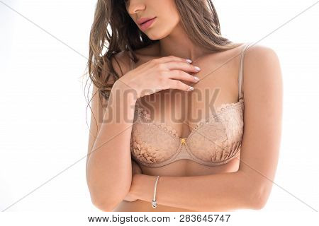 Close-up Of Women Wearing Bra Beautiful Part Of Female Body. Breast Care. b020ce16d
