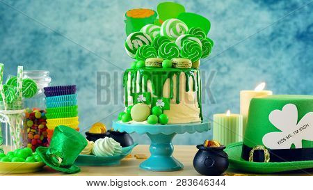 St Patricks Day Candyland Drip Cake And Party Table.
