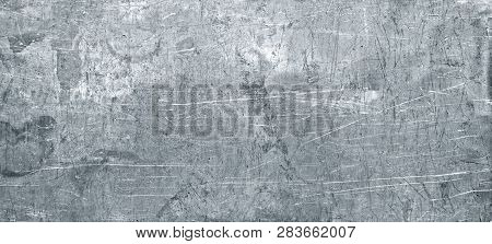 Grunge Metal Background, Texture Of Stainless Steel Panoramic View For Site Header. Template  Metal