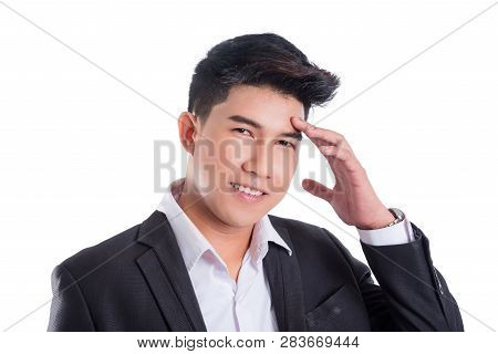 Portrait Of Smiling Asian Business Man With Suit Isolated On White Background
