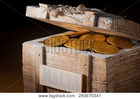 Shiny Gold Coins (austrian Ducats) In A Small Wooden Treasure Box