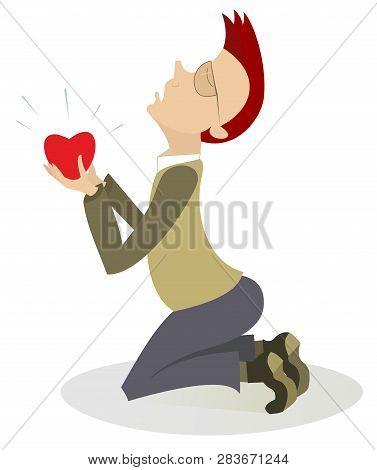 Kneeling Man And Heart Symbol Isolated Illustration. Kneeling Man Stays On The Kneel Holds A Heart S