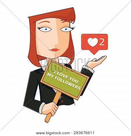 Business Woman With I Love You Placard
