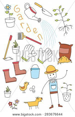 Illustration Of Doodle Set Of Tools Of Garden