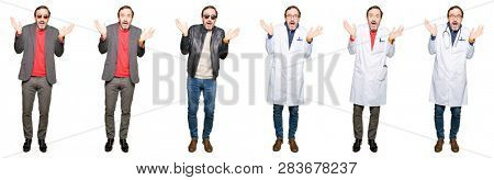 Collage of handsome middle age man wearing different looks over white isolated background clueless and confused expression with arms and hands raised. Doubt concept.