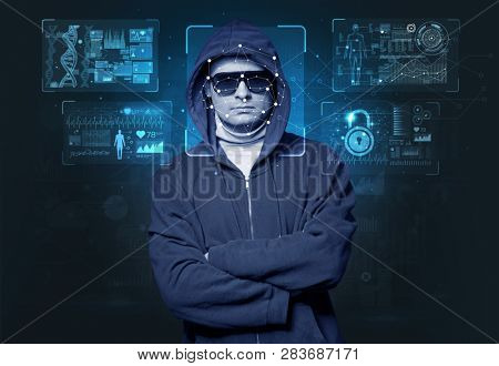 Biometric verification - young man face recognition