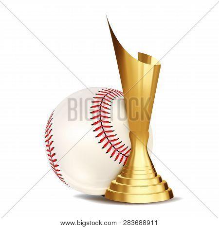 Baseball Game Award Vector. Baseball Ball, Golden Cup. Modern Tournament. Design Element For Sport P