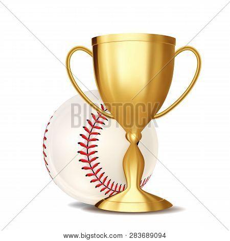 Baseball Award Vector. Baseball Ball, Golden Cup. For Sport Promotion. Tournament, Championship Flye
