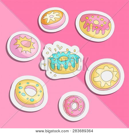 Cute Funny Girl Teenager Colored Icon Set Sticker Donuts, Fashion Cute Teen And Princess Icons. Magi