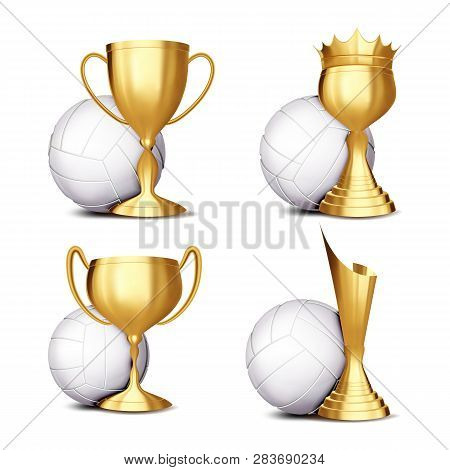 Volleyball Game Award Set Vector. Volleyball Ball, Golden Cup. Modern Volleyball Tournament. Design