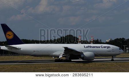 Frankfurt Am Main, Germany - July 19, 2017: Closeup Of Boeing 777-fbt D-alfe Of Lufthansa Cargo Taxi