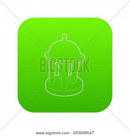 Rotunda Icon Green Vector Isolated On White Background