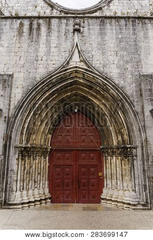 Lisbon, Portugal External Day View Of Carmo Convent. Main Portal Entrance Leading Access To The Nave