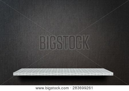 Empty Gray Dark Studio Display Table Counter Shelf Background Product Display Copy Space For Display