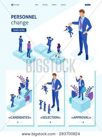 Isometric Website Template Landing Page Personnel Change, The Big Boss Keeps The Employee The Rest A