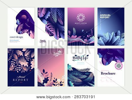 Set Of Brochure, Annual Report And Cover Design Templates For Beauty, Spa, Wellness, Natural Product