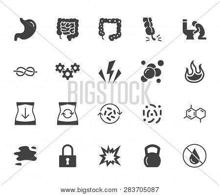 Symptoms Of Abdominal Disease Flat Glyph Icons Set. Stomach Pain, Appendicitis, Heartburn, Spasm, Di