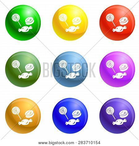 Halloween Candy Icons Vector 9 Color Set Isolated On White Background For Any Web Design
