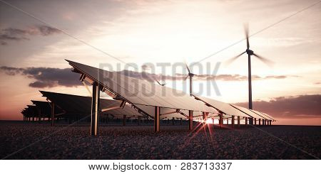 Modern And Futuristic Aesthetic Black Solar Panels Of Large Photovoltaic Power Station With Wind Tur