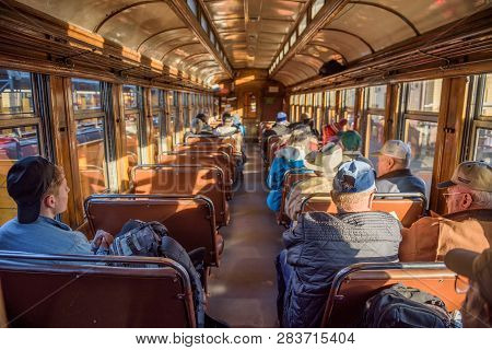 Durango, Colorado, Usa - October 15, 2018 : Tourists Inside The Historic Steam Engine Train From Dur