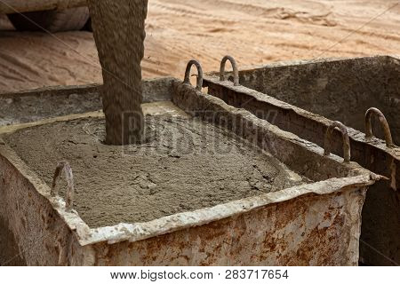 Concrete For Monolithic Construction Of Houses. Construction Site, Construction Of Houses