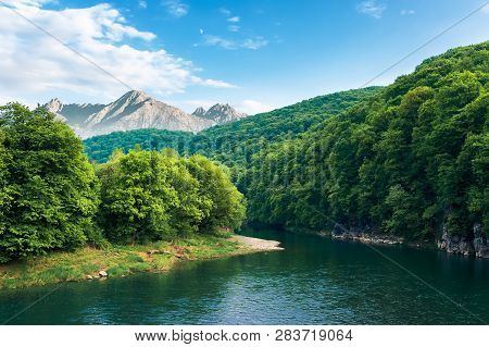 Composite Landscape With River In Mountains. Trees And Cliff On The Riverbank. High Tatra Ridge In T