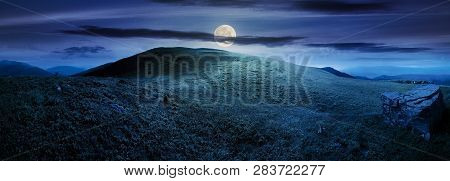 Panorama With Rock On The Grassy Hill In Mountains. Beautiful Summer Landscape In Full Moon Light. A