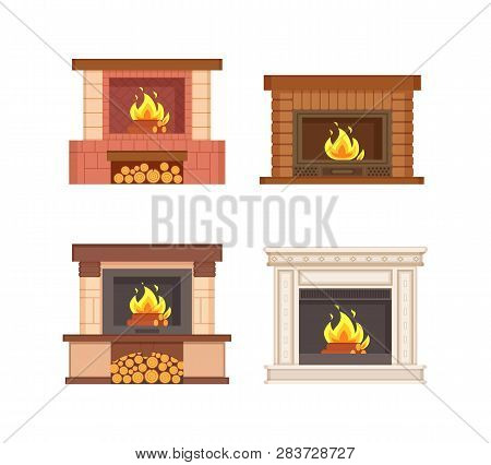 Fireplaces With Wooden Logs Isolated Icons Set Vector. Electric Type Of Furnace, Warming Heating Sys