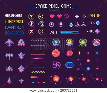 Space Pixel Game Isolated Vector Icons Font And Cosmic Characters. Arrows And Hearts Spaceship And A