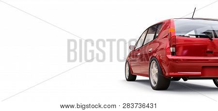 Red City Car With Blank Surface For Your Creative Design. 3d Rendering.