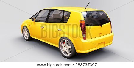 Yellow City Car With Blank Surface For Your Creative Design. 3d Rendering.