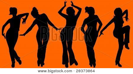 Five Dancing Women Silhouettes On Orange Background