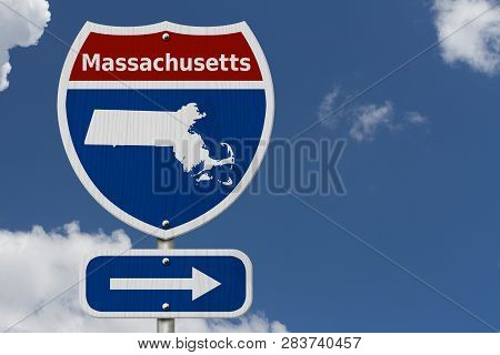 Road Trip To Massachusetts, Red, White And Blue Interstate Highway Road Sign With Word Massachusetts