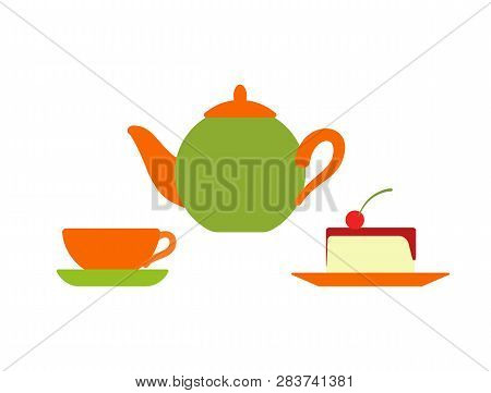 Teapot With Mug And Plate Vector, Isolated Icon Of Served Cake With Cherry Berry. Dessert With Boile