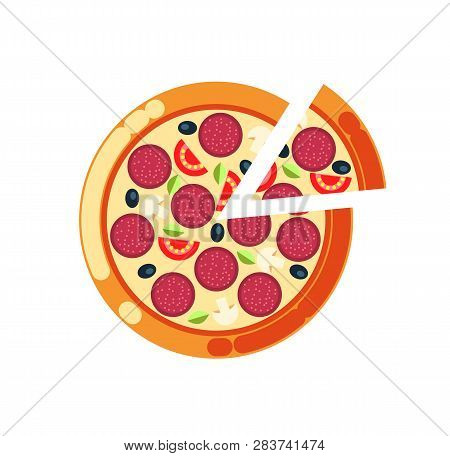 Pizza Slice Vector, Pizzeria Italian Food Cuisine Isolated Icon. Rounded Meal With Salami, Mushrooms
