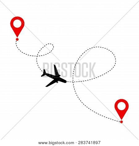 Plane With Destinations Points And Dash Route Line. Airplane Travel Concept. Vector Silhouette Illus