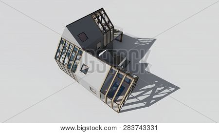 Modern House On White Background, 3d Rendering